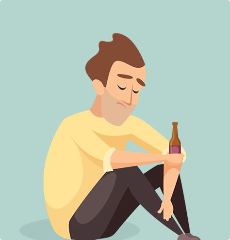 Man drinking alone illustration